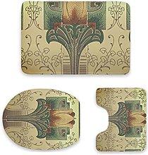 Set di 3 tappetini da bagno, design vittoriano con