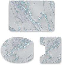 Set di 3 tappetini da bagno, in marmo, blu marino,