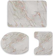 Set di 3 tappetini da bagno, in marmo rosa,