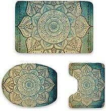 Set di 3 tappetini da bagno, in stile bohémien,