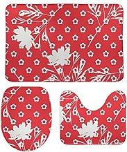 Set di 3 tappetini da bagno in stile minimalista,