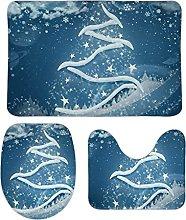 Set di 3 tappetini da bagno invernali con fiocchi