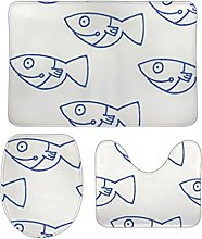 Set di 3 tappetini da bagno minimalista con pesci,