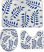 Set di 3 tappetini da bagno, motivo floreale, 11,