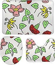 Set di 3 tappetini da bagno, motivo floreale,