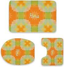 Set di 3 tappetini da bagno, motivo geometrico