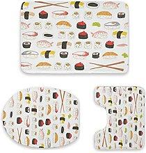 Set di 3 tappetini da bagno, motivo sushi,