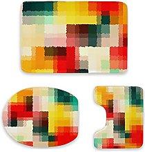 Set di 3 tappetini da bagno, multicolore,