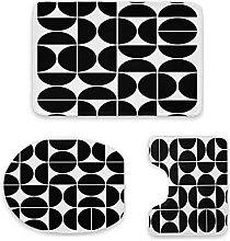 Set di 3 tappetini da bagno, stile moderno,
