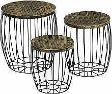 Set di 3 Tavolini da Giardino Impilabili,