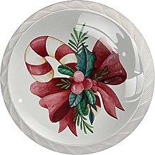 Set di 4 pomelli in canna di Natale acquerello per