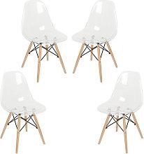 Set di 4 sedie trasparenti Sedia da pranzo in