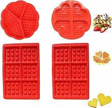 Set di 4 stampi per waffle in silicone, stampi per