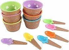Set di 6 ciotole per gelato con cucchiai