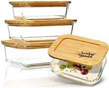 Set di barattoli per alimenti squadrati, vetro,