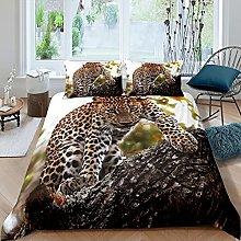Set di biancheria da letto con motivo leopardato,