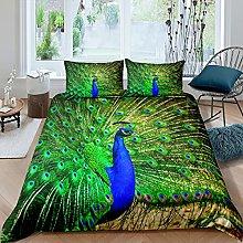 Set di biancheria da letto con piume di pavone,