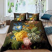 Set di biancheria da letto con rose 3D, motivo