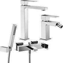 Set di miscelatori lavabo alto bidet e vasca con