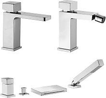 Set di miscelatori lavabo bidet e e batteria vasca