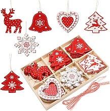 Set di ornamenti per albero di Natale in legno, 24