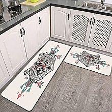 Set di tappeti da cucina,Affascinante testa di