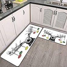 Set di tappeti da cucina,divertente cartolina di