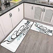 Set di tappeti da cucina,Foglia come design con