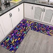 Set di tappeti da cucina,tratti di macchie su