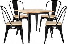 Set di tavoli in legno LIX (80x80) e 4 sedie in