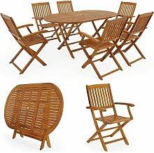 Set di Tavolo con Sedie Boston 6+1 in legno acacia