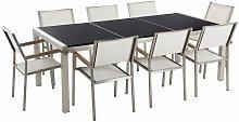 Set di tavolo e 8 sedie da giardino in acciaio,
