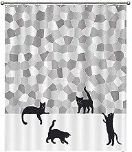 Set di tende da doccia per bagno, motivo gatto