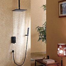 Set doccia con doccetta nera da 200 mm