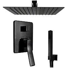 Set doccia incasso nero con soffione quadrato