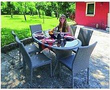 Set giardino in polyrattan 6 sedie + tavolo arredo
