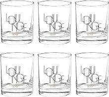 Set in cartone nero e dorato con bicchieri (x6) in