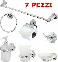 Set Kit Accessori Bagno 7 Pezzi Ceramica Bianca