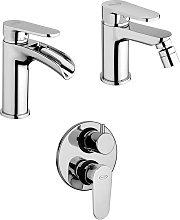 Set miscelatori lavabo a cascata + bidet + incasso