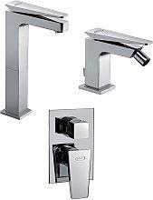 Set miscelatori lavabo alto + bidet + incasso