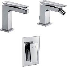Set miscelatori lavabo + bidet + incasso doccia
