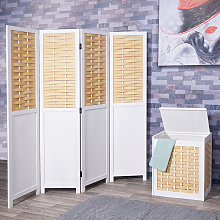 Set paravento divisore con cesta portabiancheria