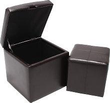 Set poggiapiedi con pouf contenitore Onex pelle