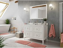 Set stile rustico 2pz. Lavanda 120 legno bianco