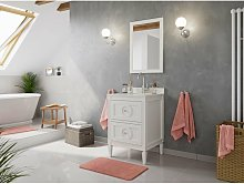 Set stile rustico 2pz. Lavanda 60 legno bianco