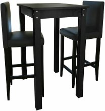 Set Tavolino da Bar Tavolo alto con 2 Sgabelli