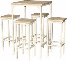 Set Tavolo Bar Quadrato Alto 110 Cm E 4 Sgabelli