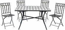 Set Tavolo da Pranzo con 4 Sedie Pieghevoli
