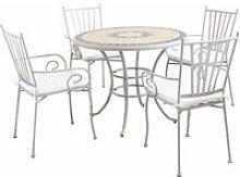 Set Tavolo Giardino Rotondo Fisso Con Piano In