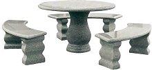 Set tavolo + panchine in granito rondo' tavoli